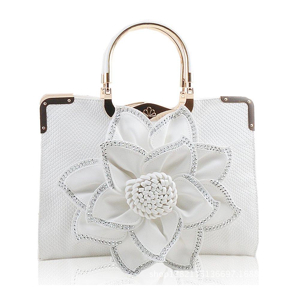 Ruiatoo Women's Evening Handbag Fashion Rhinestone Flower PU Leather Wedding Prom Clutch Shoulder Purse White