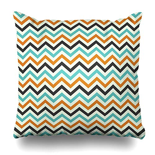 WAYATO Pillow Case Short Plush Throw Pillow Covers Halloween Zig Zag Bed Home Decor Cushion Cover 18 x 18 Inch]()