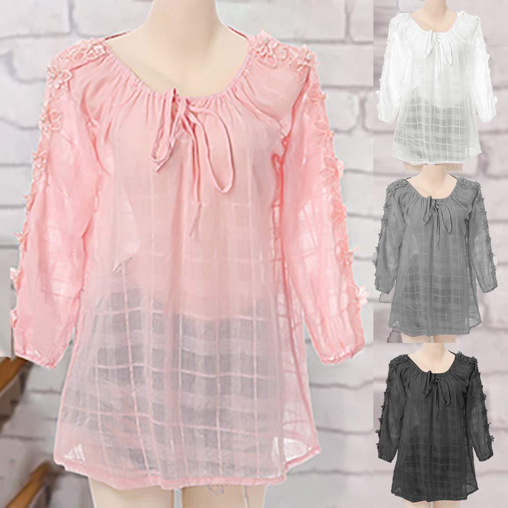 Mujeres Retro Manga Larga, Blusa Casual Tops para Mujer Botones Sueltos Blusa Mini Camisa ❤ Manadlian: Amazon.es: Ropa y accesorios