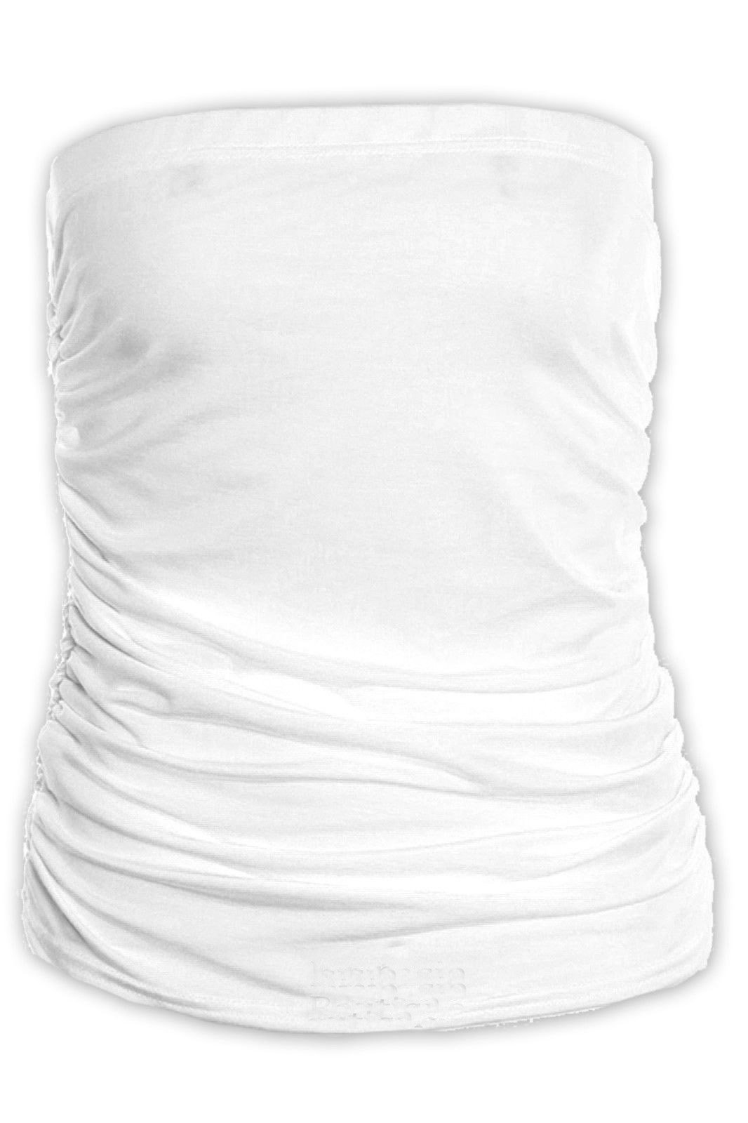 Commencer Women's Plain Ruched Ladies Strapless Bandeau Boobtube Gathered Sleeveless Vest Crop Top White-L/XL