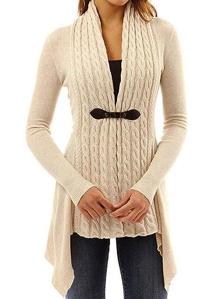 Maglione Aperto Donna Lana Moda Cardigan in Maglia Giacca Autunno Inverno  Pullover Scollo V Cappotto Leggero Eleganti Blazer Asimmetrico Coprispalle  Manica ... f4bd23f3286f
