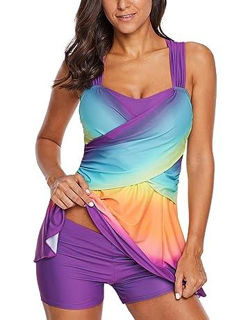 72e62c664c Aranmei Womens Swim Dress Rainbow Color Block Tankini Swimwear with Shorts  Swimsuit Set