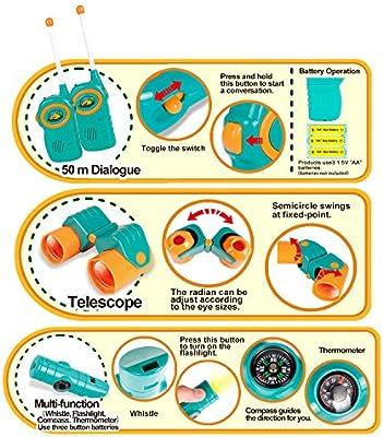 Kids Telescope Adventure Kit Juego de 7 Piezas Juego de Aventuras para ni/ños al Aire Libre Explorador para ni/ños Mejor para ni/ños de 3 a 12 a/ños Telescopio de Aventuras para ni/ños y ni/ñas