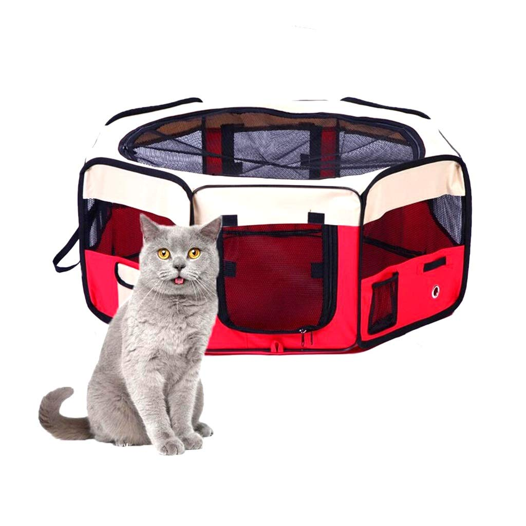 Red S red S Pet Tent Dog Cat,Puppy Playpen Kennel Bed Cage Play House Portable Foldable Removable For Indoor Outdoor Traveling Camping (color   Red, Size   S)