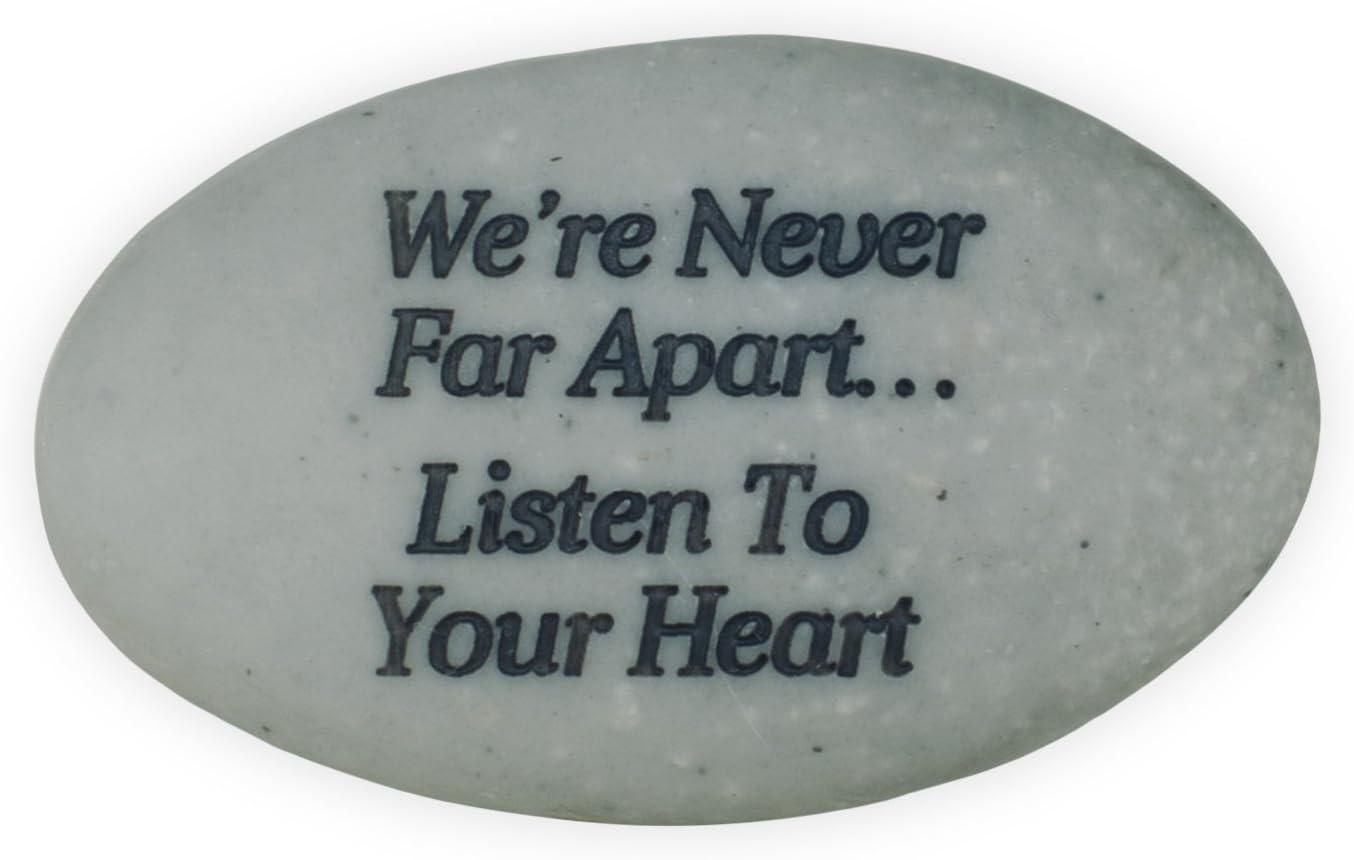 AngelStar Rainbow Bridge Pet Stone Were Never Far Apart/…Listen to Your Heart Deep Grey
