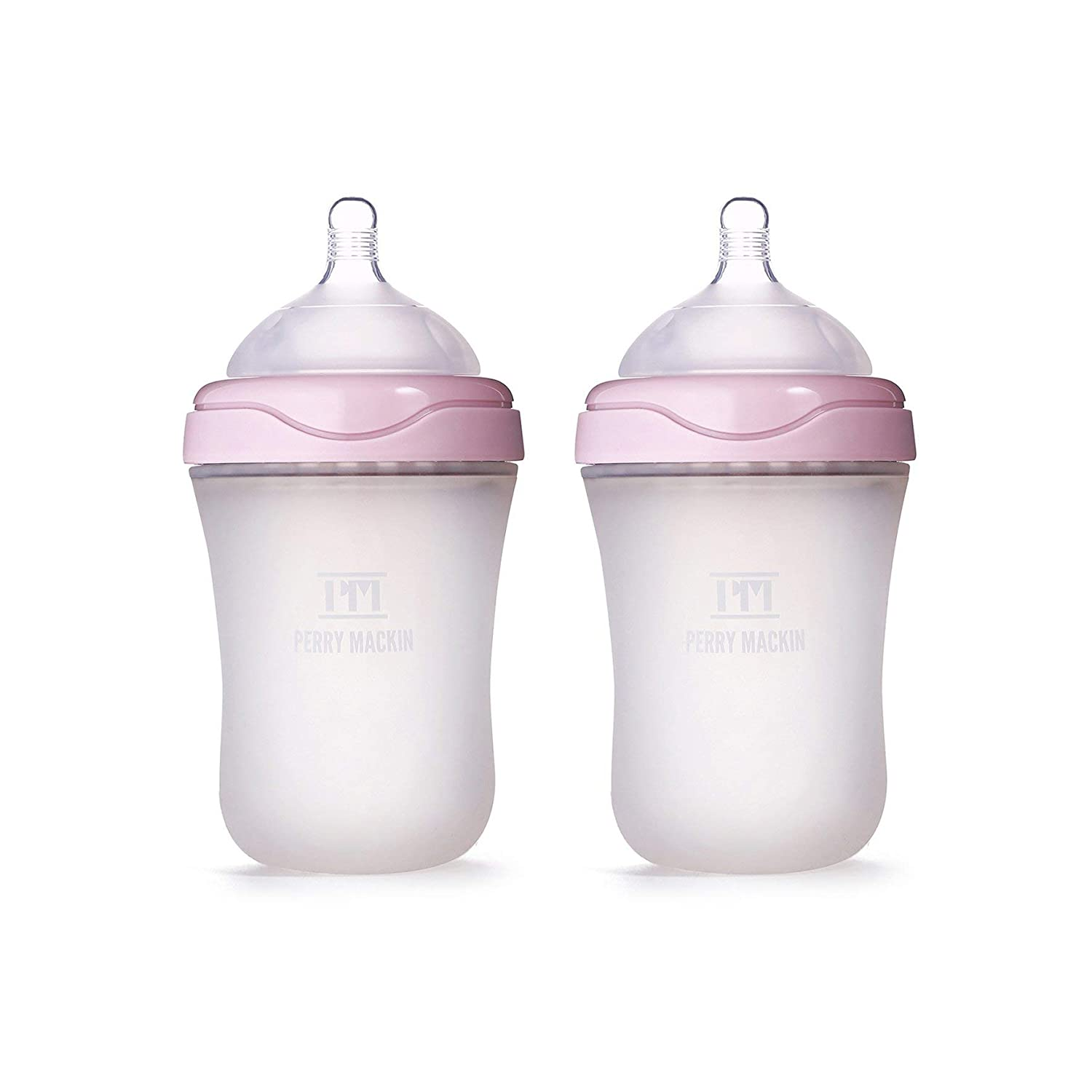 01ee600364d3 Perry Mackin Natural Feel, Anti-Colic, Soft Silicone Baby Bottle - 2 Pack  of 6oz Slow Flow, Pink