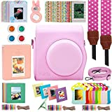 Katia 9 in 1 Instax Mini 9/ 8+ /8 Camera Accessories Bundles Set For Fujifilm Instant Film Camera (Camera Case/ Album/ Selfie Len/ Strap/ Frames/ Stickers/ Strap/ Filter) - Pink