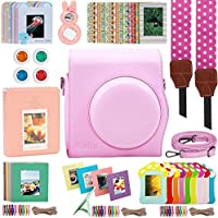 Katia 9 in 1 Instax Mini 9/ 8+ /8 Camera Accessories Bundles Set For Fujifilm Instant Film Camera (Camera Case/ Album/ Selfie Len/ Strap/ Frames/ Stickers/ Strap/ Filter) - Pink