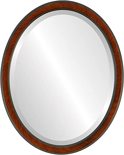 Oval Beveled Wall Mirror for Home Decor – Toronto Style – Vintage Cherry – 22×26 Outside Dimensions