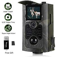 SUNTEKCAM Wildkamera 16MP 1080P mit Infrarot-Nachtsicht bis zu 65 Fuß/20 m IP65 Spray Wasserdicht für Outdoor-Natur, Garten, Haussicherheitsüberwachung HC-550A