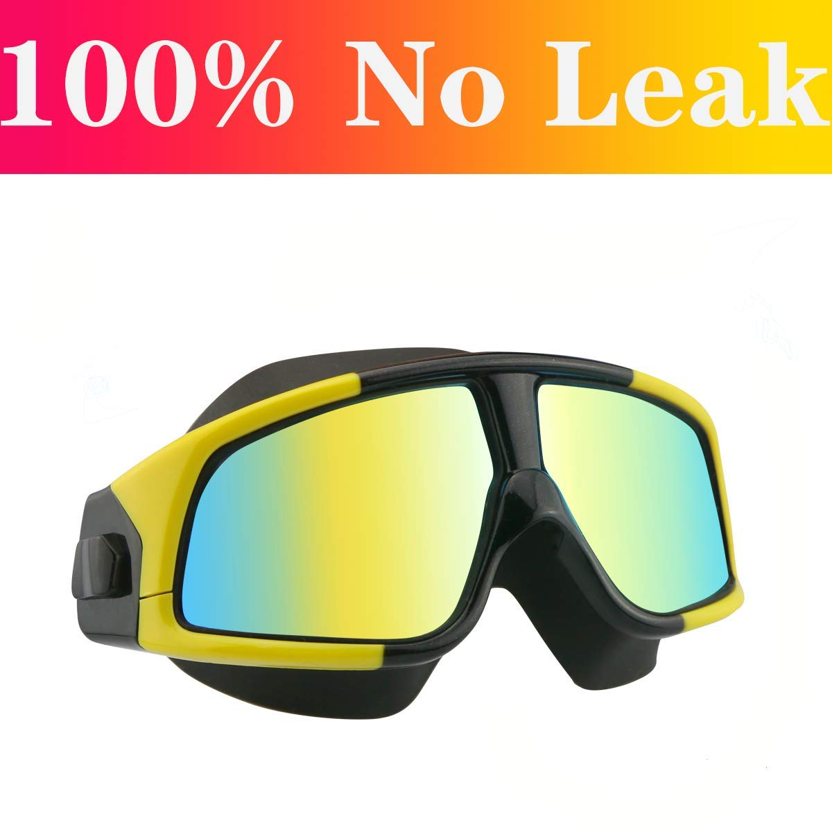 Aquior Swim Goggles, Big Frame Swimming Glass Leakproof Anti Fog UV Protection, 180 Wide-Vision Swim Mask Goggles for Adult Youth Men Women