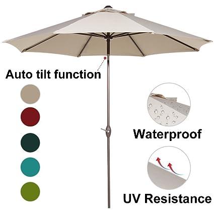 Abba Patio 9 Feet Patio Umbrella Market Outdoor Table Umbrella With Auto  Tilt And Crank,