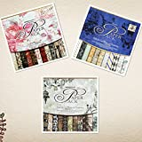 inspiring chinese garden design S&B Scrapbook Paper Book Pad 12 x 12-inches Classic Decoupage Paper Supplies, 3-Pack(Blue, Rose and Gray/Black)