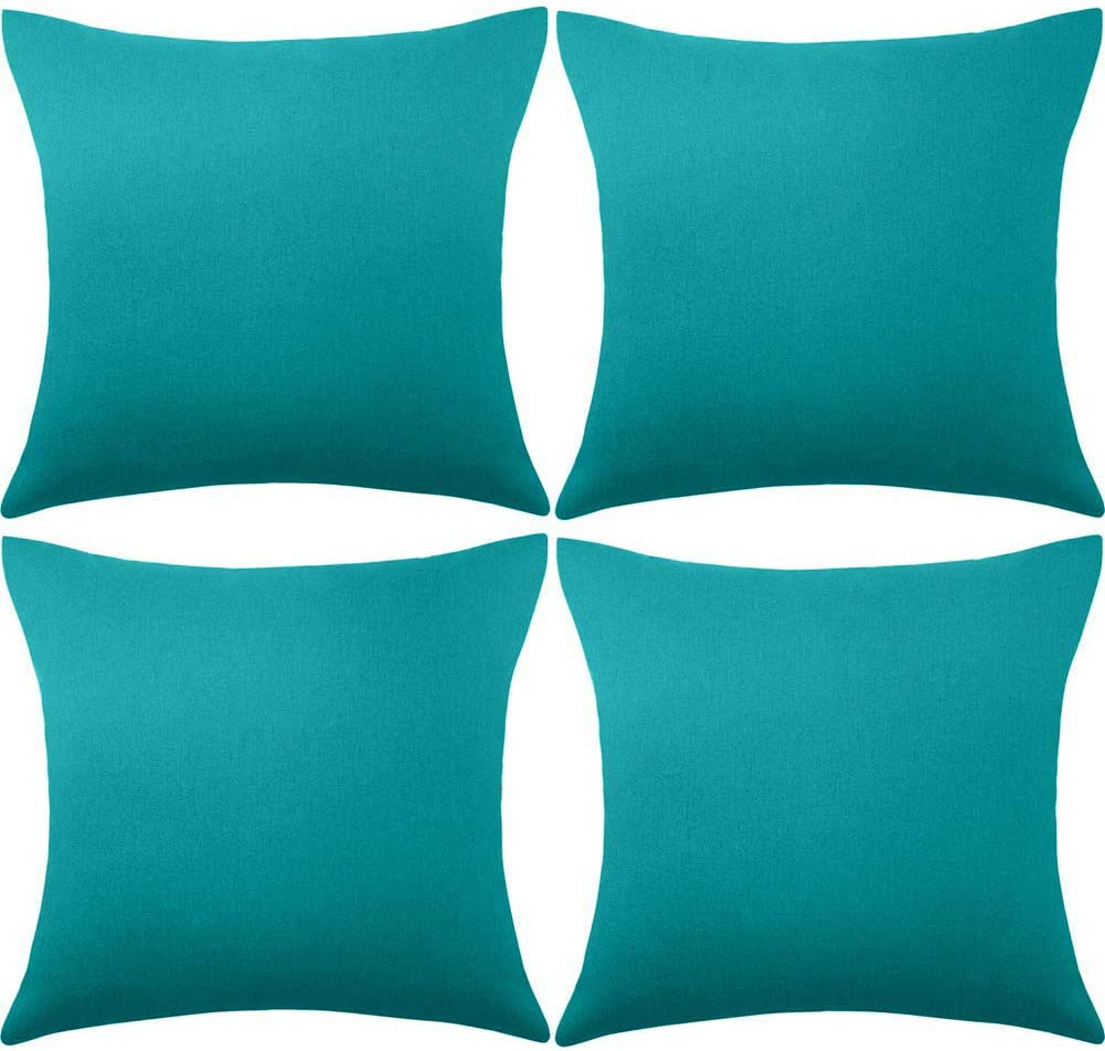 ALLAMRCU Set of 4 Decorative Outdoor Throw Pillow Covers,Patio Balcony Waterproof 18 x 18 Inches Square Pillow Cases,PU Coating Pillow Shell for Christmas,Garden,Cushion,Couch, Bed,Sofa (Blue)