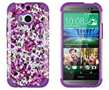 DandyCase 2in1 Hybrid High Impact Hard Lavender Garden Floral Pattern + Purple Silicone Case Cover For HTC One M8 (2014 release) + DandyCase Screen Cleaner