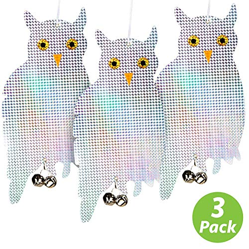 Livin' Well Bird Repellent Reflective Owl Decoy - Bird Deterrent, Woodpecker Deterrent, Owl Scarecrow and Fake Owl Bird Repellent Devices to Scare Birds Away (3 Pk) (Owls Well)