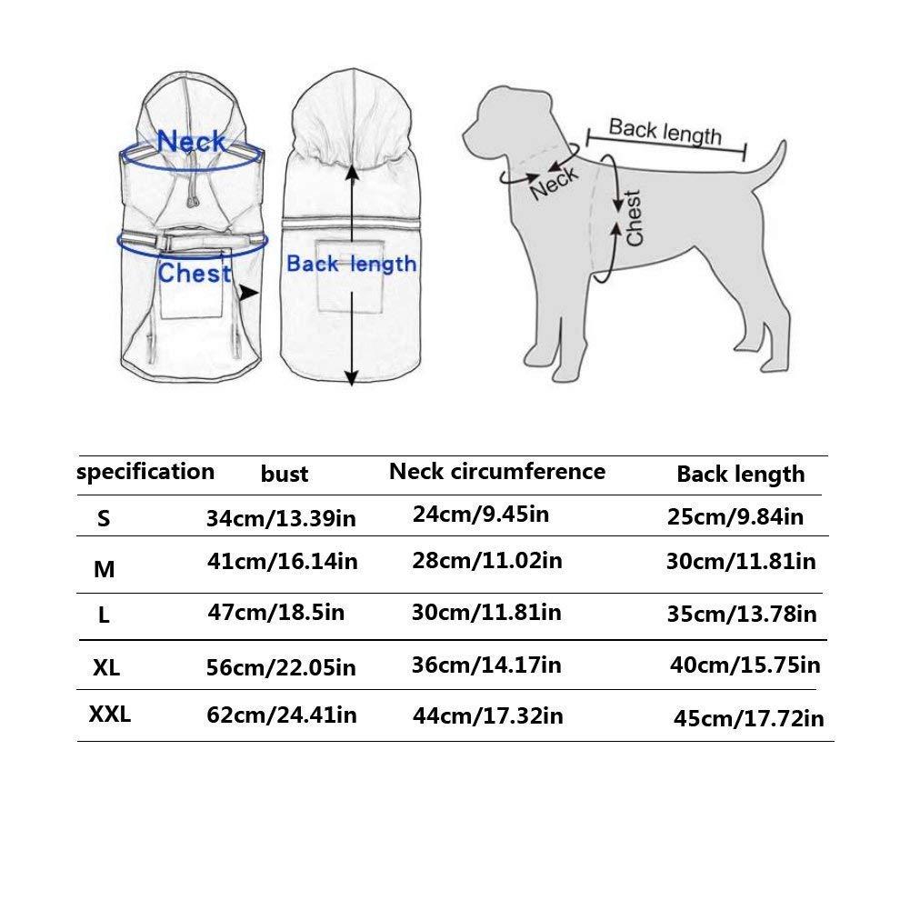 XL Azul Oscuro Rocita Chubasquero de Perro Ajustable Reflectante Impermeable Ligero con Capucha para Perros peque/ños y Grandes