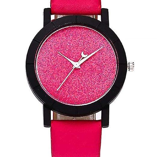 Scpink Mujeres Star Relojes Liquidación Relojes Femeninos Luminoso Lady Relojes Relojes Reloj de Cuero (Rosa Caliente): Amazon.es: Relojes