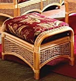 Wicker Ottoman with Cushion (Solar Kiwi (All Weather))