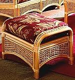 Wicker Ottoman with Cushion (Solar Kiwi (All Weather))