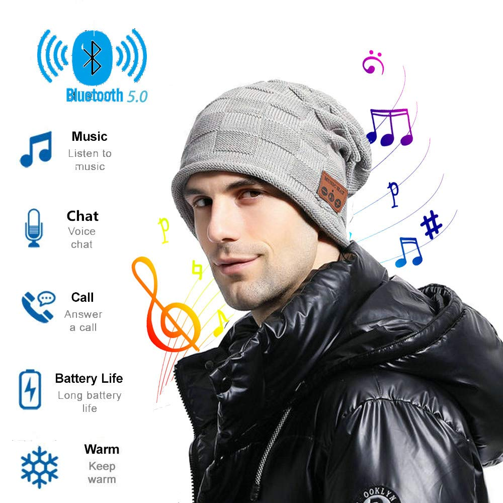 Wireless Bluetooth Beanie Hat,Gift for Men Women,Rechargeable Wireless Bluetooth V5.0 Beanie Hats,Headphone Beanie with Bluetooth Unique Christmas Tech Gifts for Women Mom Her Men Teens Boys Girls