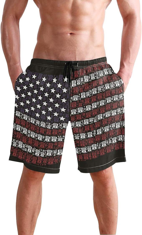 American Flag Mens Trunks Beach Board Shorts Drawstring Waist Mesh Lining