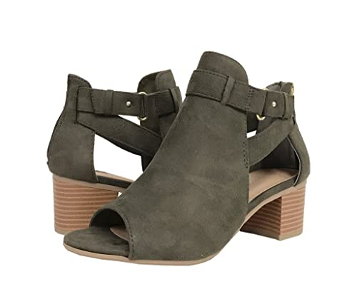 INVEST! Soda Women's Cutout Side Straps Mid Block Heel Ankle Bootie in Light Olive