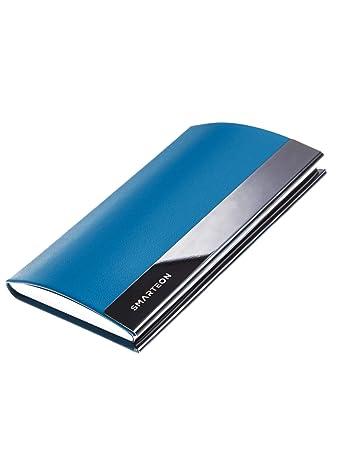 Smarteon Visitenkarten Etuis Blau Premium Kartenetui Zur Aufbewahrung Von Visitenkarten Visitenkarten Etui Tolles Geschenk Für Herren Und Damen