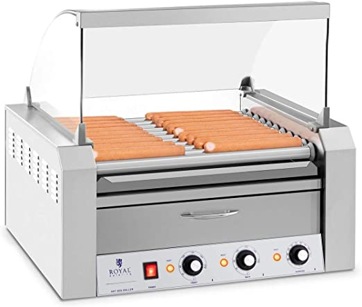 Hot Dog Maker Hot Dog Grill Gerät Hotdog Rollen Grill Edelstahl 5 Rollen 1000 W