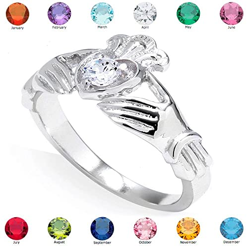 Women's Fine 10k White Gold Custom Personalized CZ Heart Birthstone Claddagh Ring