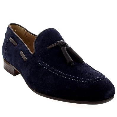 H By Hudson Mens Pierre Tassel Office Smart Slip On Work Loafers Shoes   Navy