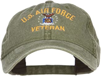 e4da6d13b2f E4hats US Air Force Veteran Military Embroidered Washed Cap