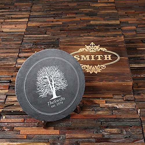 Circular Stone Sign With Stand Add A Family Name Or