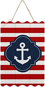 Hanging Wood Sign Red White & Blue Nautical Anchor Wood Wall Art Decoration Plaque for Home Decor,Kitchen, Coffee, Restaurant, Garden, Office,8