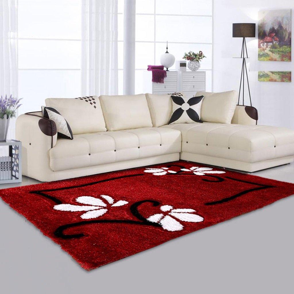 GYP リビングルームカーペット結婚式ブランケットベッドルームレッドモダンファッションシンプルなコーヒーテーブルマット ( 色 : 赤 , サイズ さいず : 120*170CM )   B078LZ9BH1
