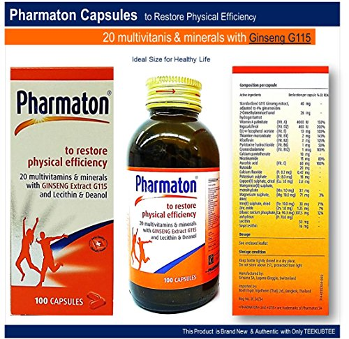 Pharmaton 20 Multivitamins Minerals with Ginseng G115 Lecithin and Deanol Capsules Active Restore Physical Optimal Physical and Mental Performance 100 Capsules Bottle Ideal Size for Energy Boost