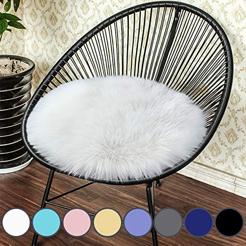 Junovo Premium Soft Round Faux Fur Sheepskin Seat Cushion Chair Cover Plush Area Rugs for Bedroom, 14 x 14inch, White (Chair Small Bedroom)