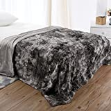 """LANGRIA Luxury Super Soft Faux Fur Fleece Throw Blanket Cozy Warm Breathable Lightweight and Machine Washable Dyed Fabric for Winter – Decorative Furry Throw for Couch Bed (60x80"""", Twin Size Gray)"""