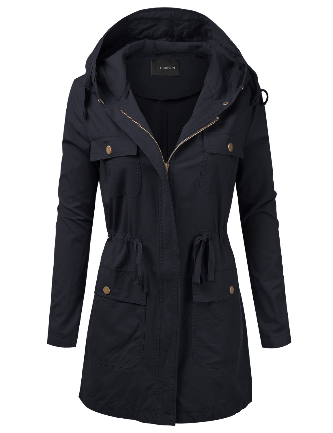 J.TOMSON Women's Woven Hooded Cotton Utility Jacket with Drawstring Waist Navy L