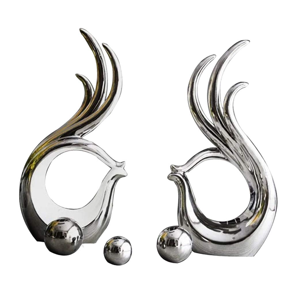 LOVIVER 1 Pair of Abstract Sculpture and Statues Collectible Figurines Home Office Bookshelf Desktop Decor Wedding