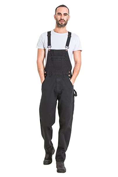 low price clear and distinctive lovely design USKEES Mens Relaxed Fit Denim Bib Overalls - Black Loose fit Overalls