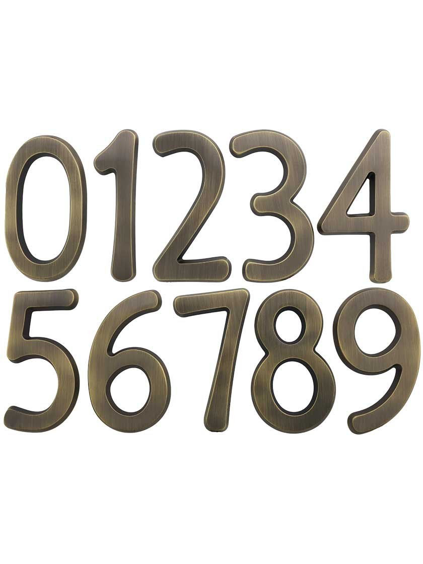 "Solid-Brass 6"" House Numbers Number 0 in Antique Brass"