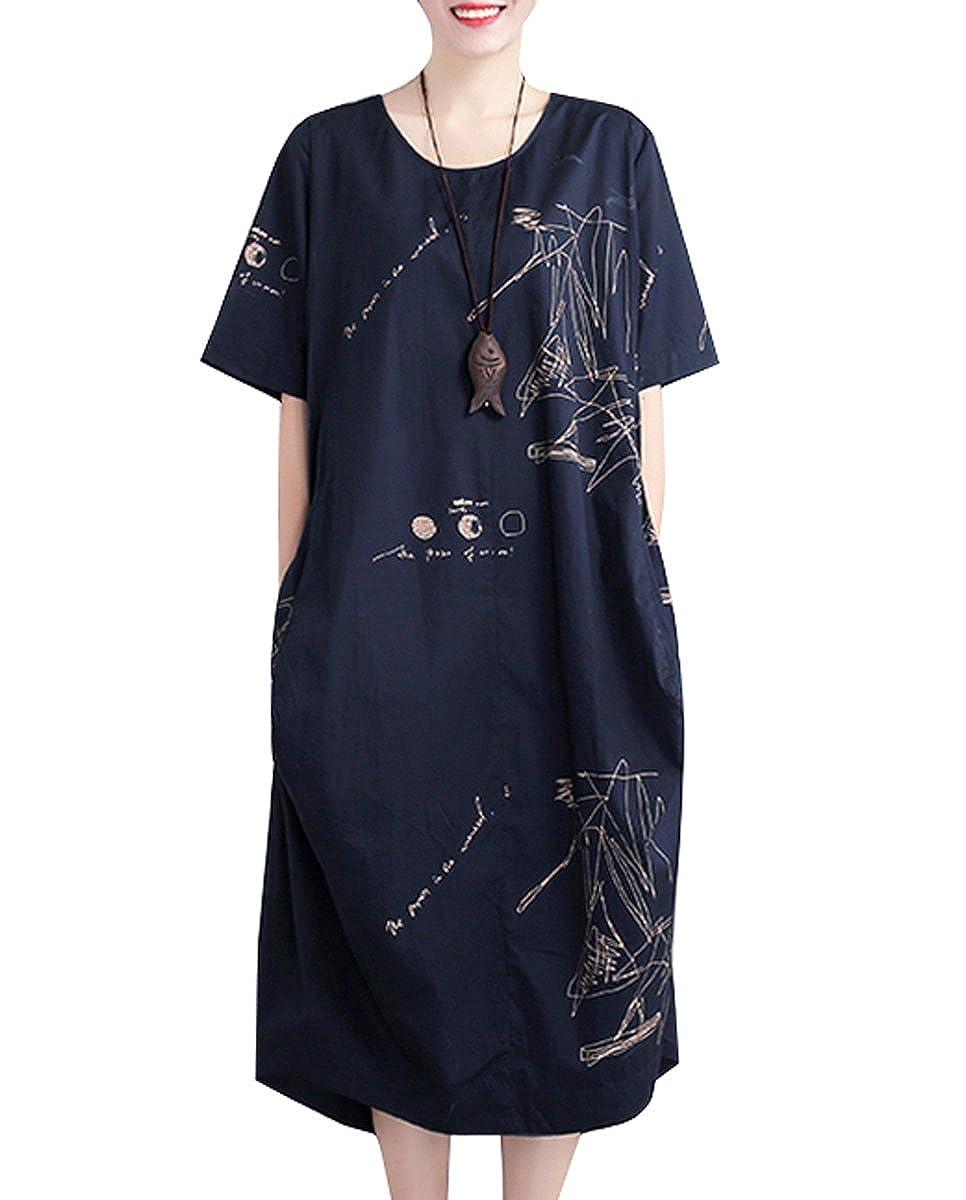 bluee ELLAZHU Women Summer Crew Neck Pencil Sketch Printed Dress GA691