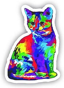 "Cat Watercolor Sticker - Vinyl Decal - Laptop, Decor, Window Vinyl Decal Sticker - (4"" Vinyl Decal)"