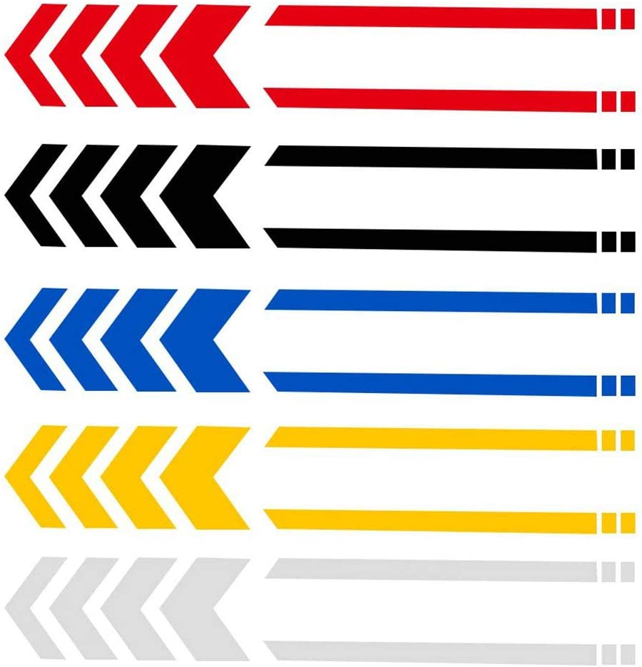 Motorcycle Fender Decals Stickers Universal Reflective Arrows Pattern Motorcycle Decals 13.4 x 2.7 inch Yellow