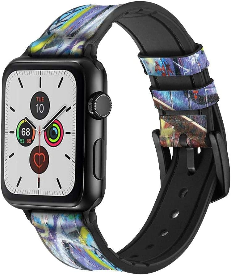 CA0076 Wall Graffiti Leather & Silicone Smart Watch Band Strap for Apple Watch iWatch Size 38mm/40mm