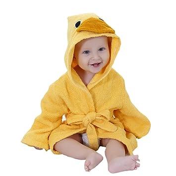 Baby/'s Hooded Bathrobe Cartoon Yellow Pink Duck Bath Towel Toddler Infant Unisex