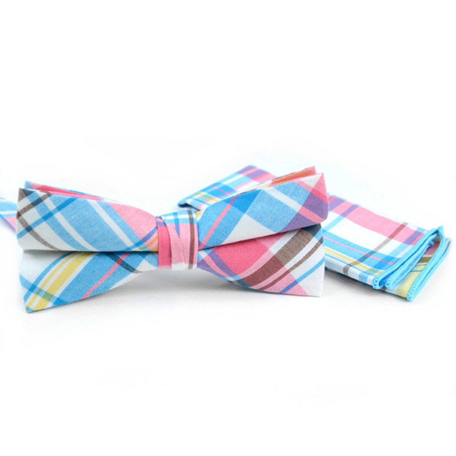 Mens Pastel Multi-colored Plaid Cotton Bow Tie and Matching Hanky Set