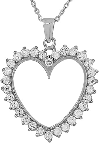 925 Sterling Silver Love Heart Charm White CZ Pendant Necklace
