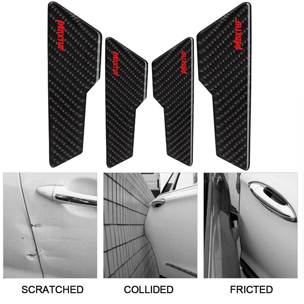Car Door Sill, MAXTUF 5pcs Car Door Sticker Trim Carbon Fiber 4D Anti Scratch Scuff Plate Cover Pedal Front Rear Bumper Guard Protection Step Protector Strong Adhesive Universal fit Car SUV Pickup Truck